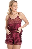 French Knicker and Cami Top Set in Stunning Claret Red - UK 10 to 28 sizes